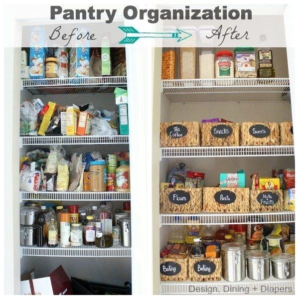 Pantry Before and After by Design, Dining + Diapers, pantry organization system, pantry organization, organization tips, closet organization