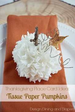 Tissue Paper Pumpkin Place Cards via @tarynatddd