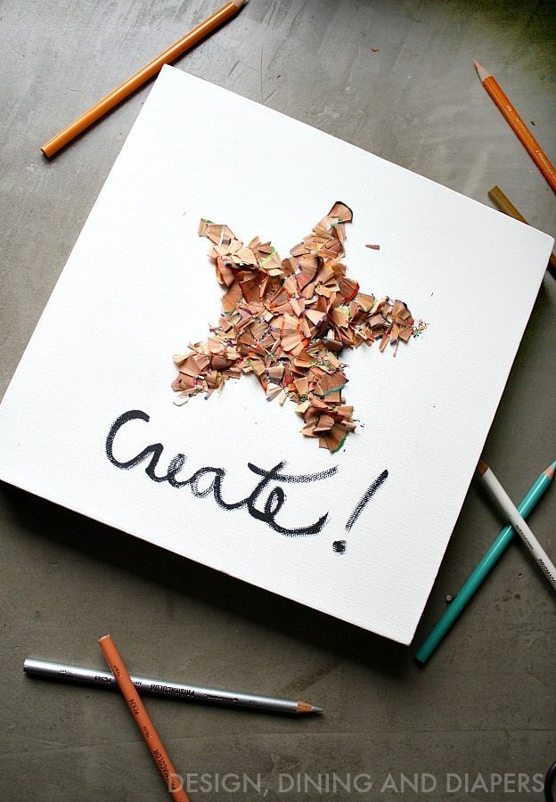 Recycle Color Pencil Shavings and turn them into a fun piece of art! A project for the whole family. via @tarynatddd