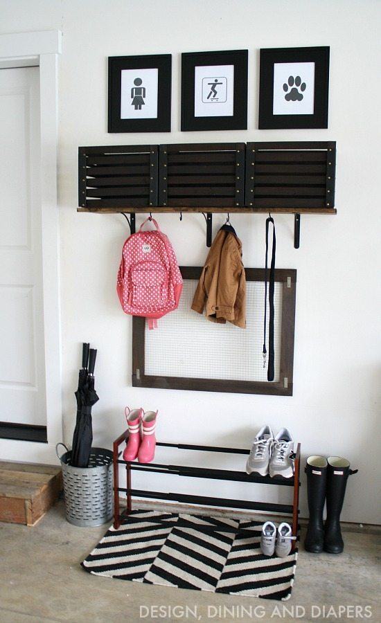 DIY Garage Mudroom - inexpensive way to organize you and your kiddos