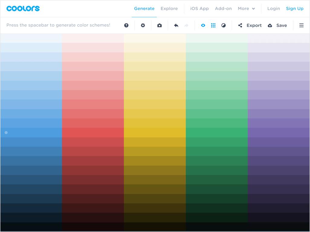 Tvorba barevné palety v nástroji Coolors
