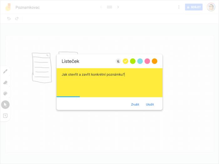 Přidání poznámky, včetně možnosti vybrat si barvu