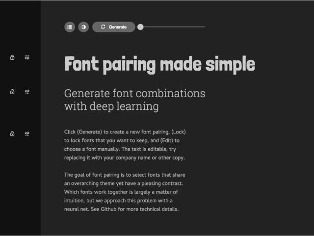 Vygenerované různé kombinace fontů.