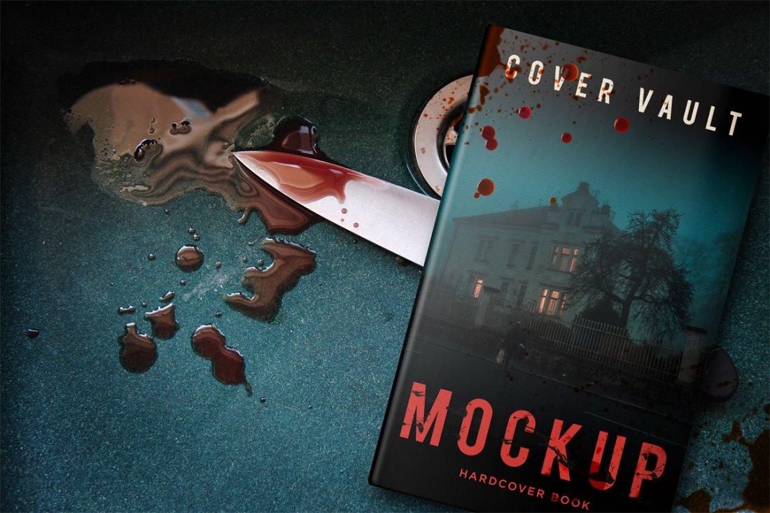 Hardback Horror Blood Book Cover Mockup