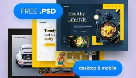 PSD веб-шаблон для мобильных устройств Adobe Photoshop