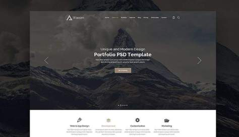 Домашняя страница Waxom PSD Веб-шаблон Adobe Photoshop