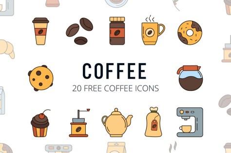 Бесплатный кофе Векторный Icon Set