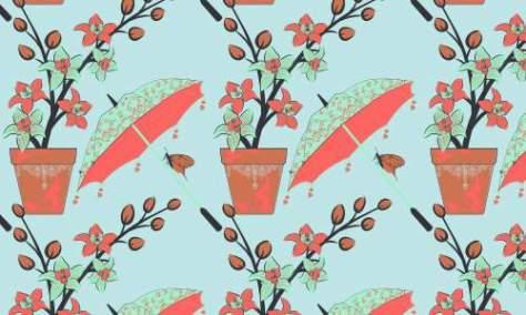 Зонт с цветочным узором