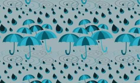 Капли дождя с зонтиком