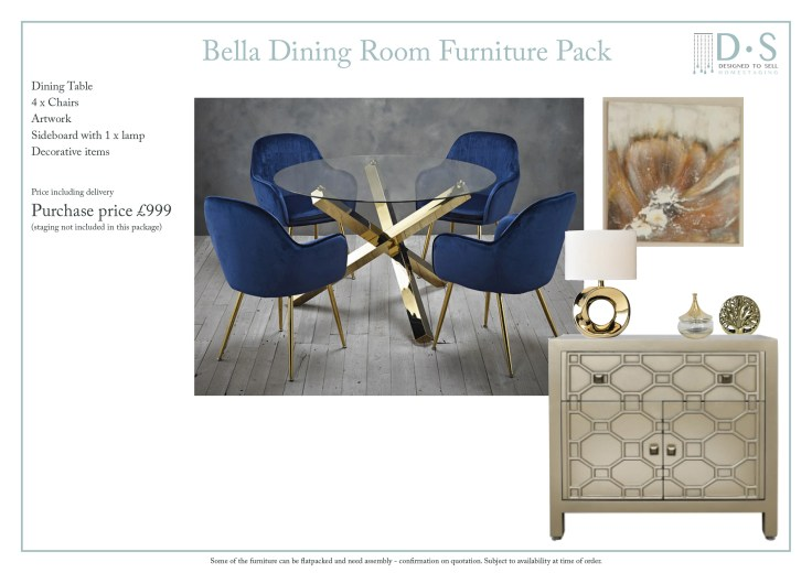 Bella Full Staging Furniture Pack - Dining Room
