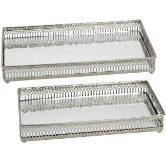 Set of Rectangular Nickel Plated Trays