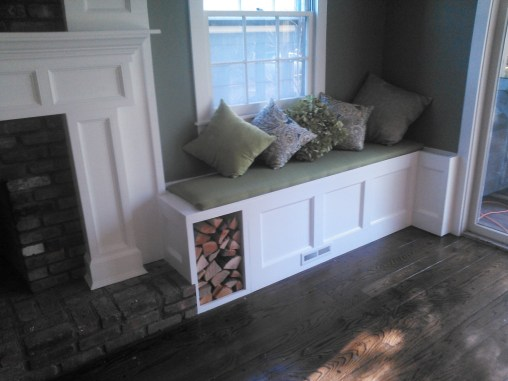 custom mantle and benches
