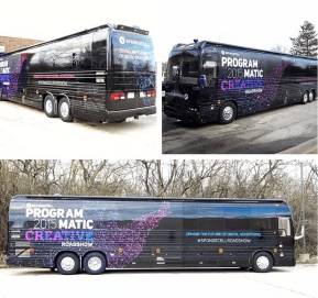 The bus with design skin