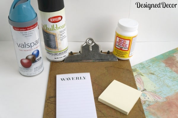 supplies needed to repurpose a clipboard