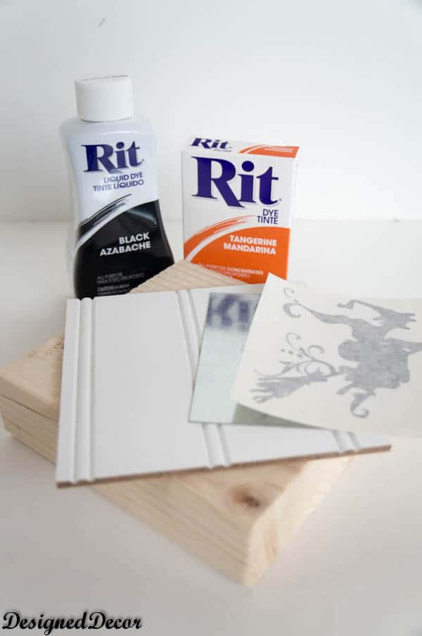supplies needed for Painting a Decorative Block with Rit Dye