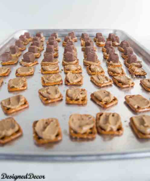 pretzel snicker bites steps 1 and 2 #shop
