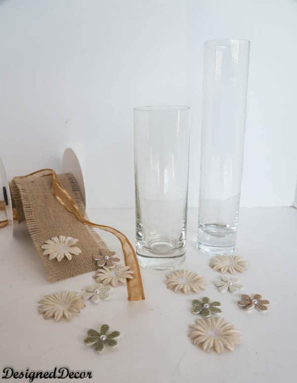 supplies needed for burlap vases
