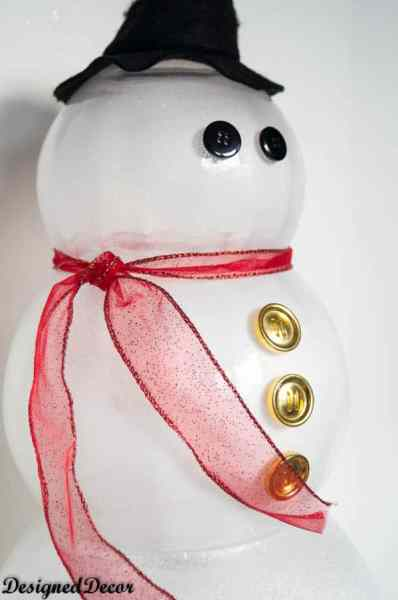 Glass Bowl Snowman with button eyes