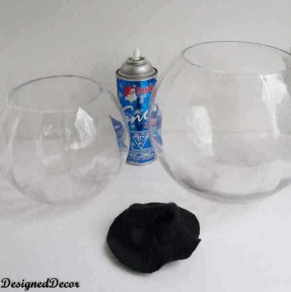 supplies for a Glass Bowl Snowman