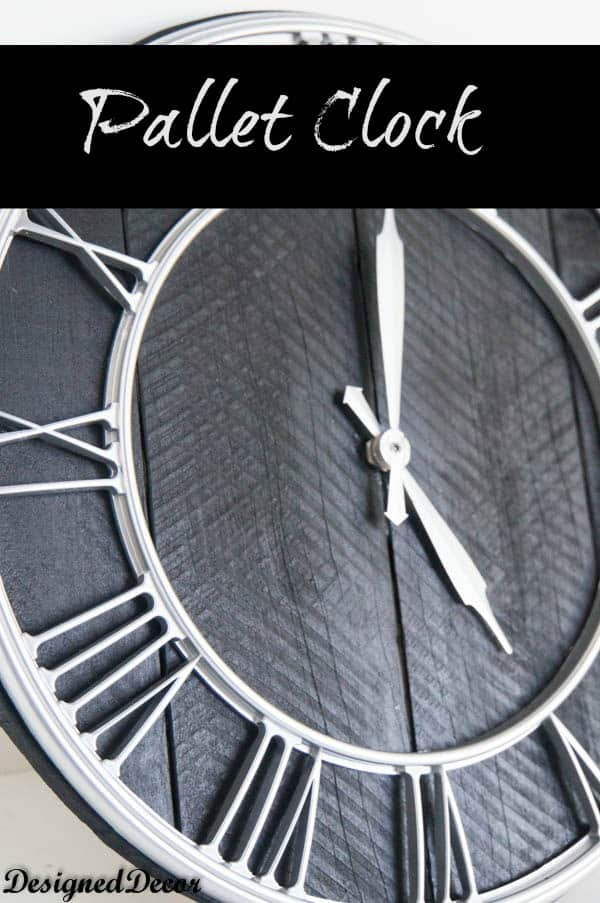 repurposed pallet clock- www.designeddecor.com