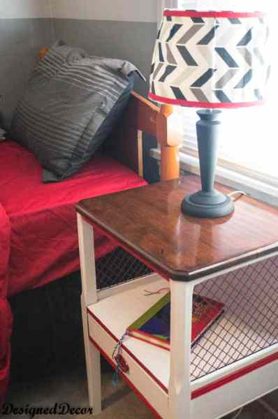 Boys Bedroom- bedside table with a chevron fabric covered lamp shade