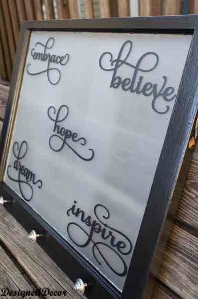 inspirational words ~ repurposed window-
