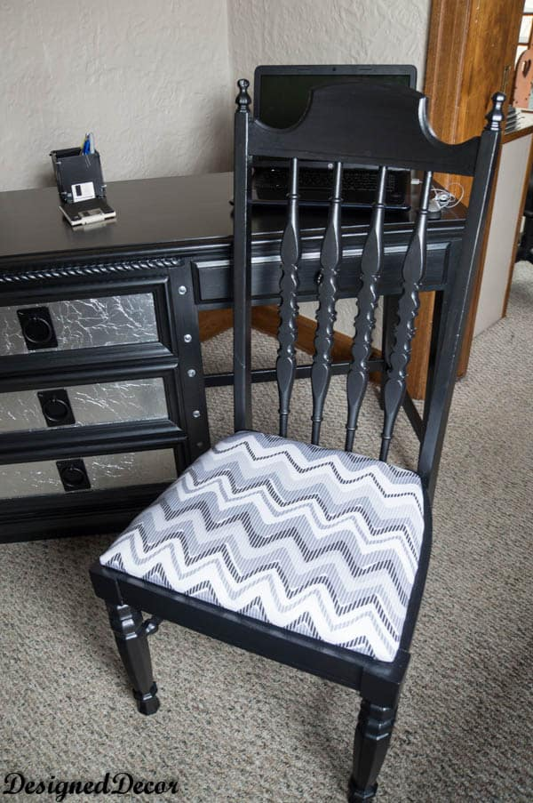 Black Desk with Tin Foil  Drawers-