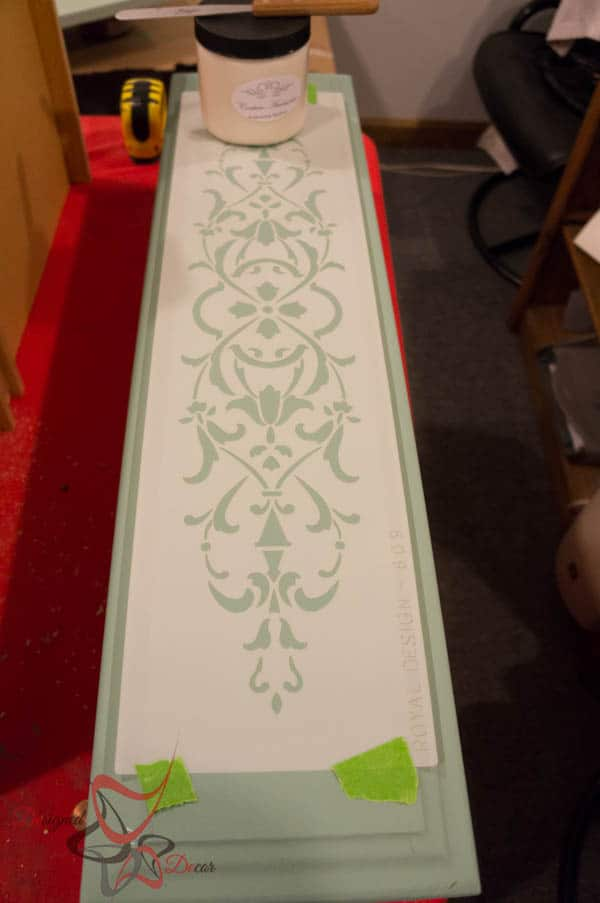 Repurposed Drawer Fronts - Royal Design Stencils- Embossing Medium from Paint Couture