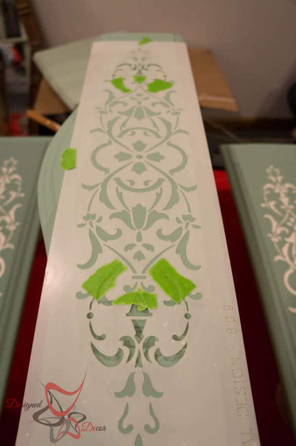 Repurposed Drawer Fronts - Royal Design Stencils- altering the stencil pattern