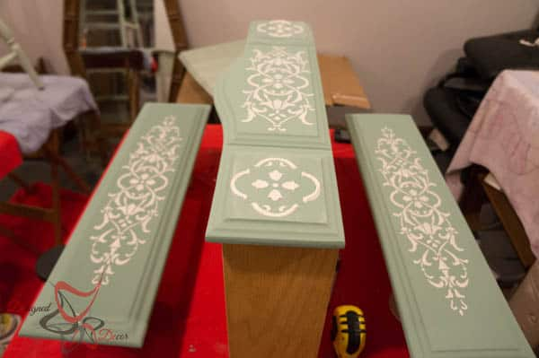 Repurposed Drawer Fronts - Royal Design Stencils- different options with the same pattern