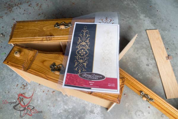 Repurposed Drawer Fronts - Royal Design Stencils ~ before photo
