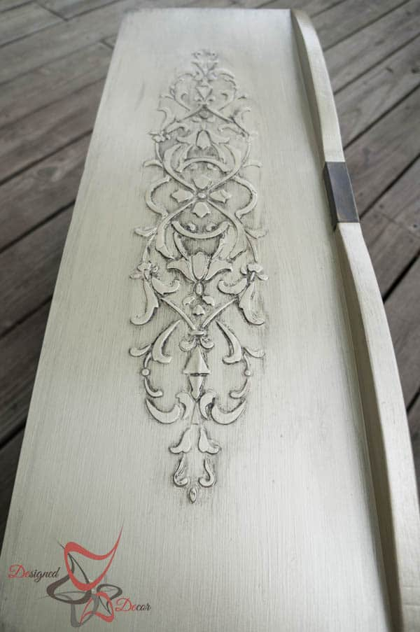 Stenciled Dresser ~ Wood Icing- furniture glazing in licorice