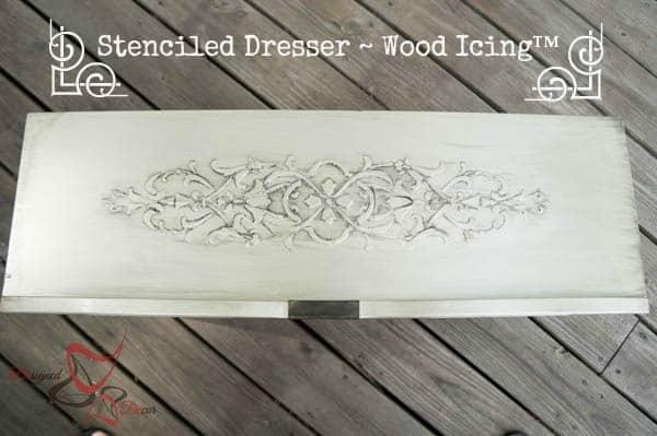 Stenciled Dresser ~ Wood Icing-pinnable