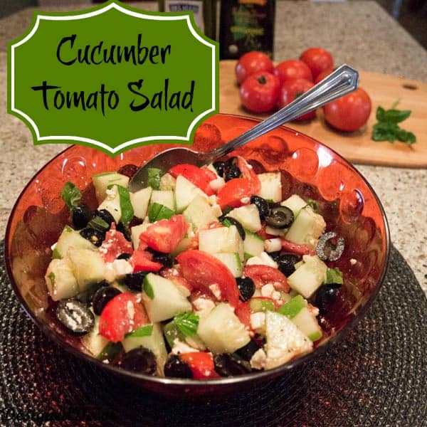 Tomato Cucumber Salad with Olives and Feta cheese