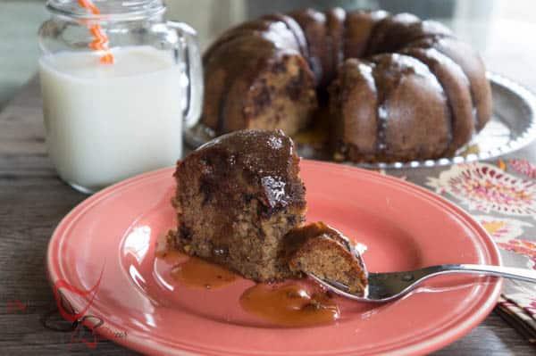 Chocolate Chip Banana Cake ~ Maple Caramel Sauce-