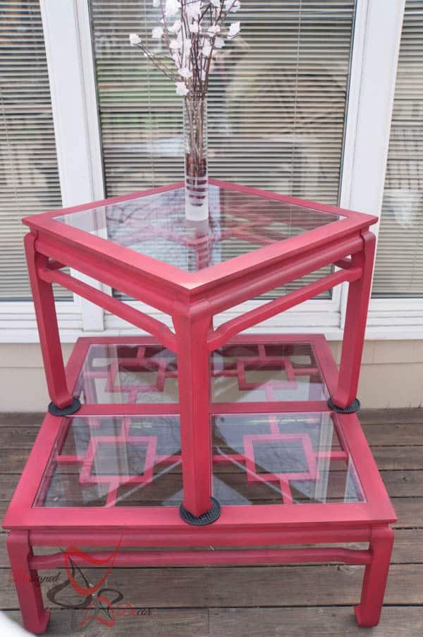Painted Glass Top Tables
