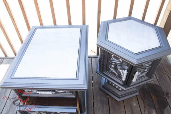 Two Toned Ornate Side Tables-