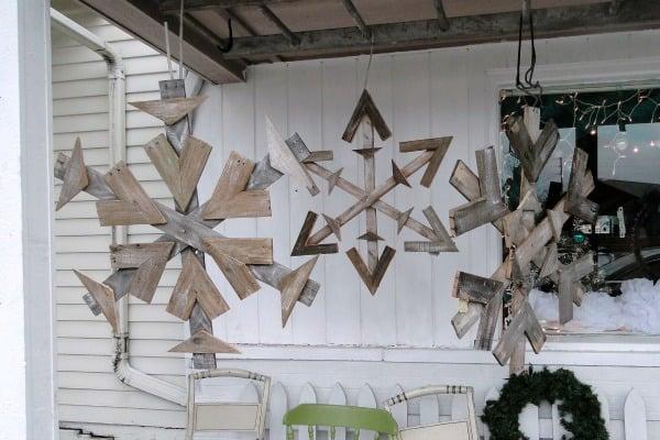DIY Hanging Pallet Snowflakes