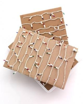 using Cardboard to organize christmas lights