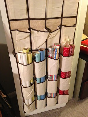 wrapping paper storage using a shoe caddy