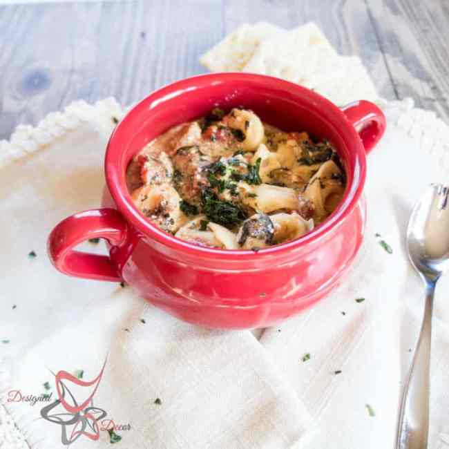 Crockpot Creamy Sausage Tortellini Soup-