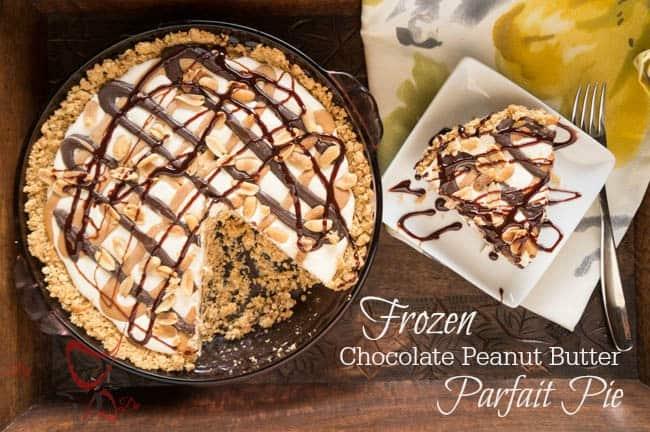 Frozen Peanut Butter Chocolate Parfait Pie-pinnable