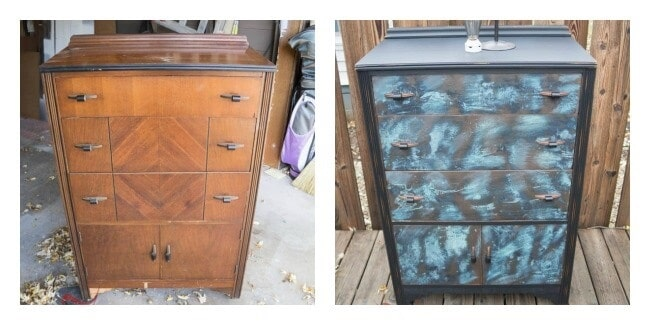 Patina Dresser Makeover-before-after