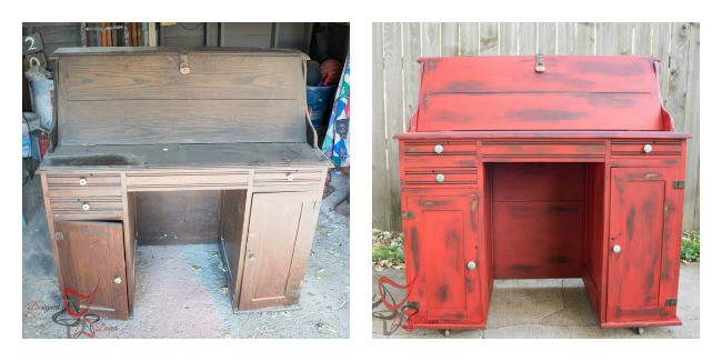 Vintage desk makeover with an image of the Before and After