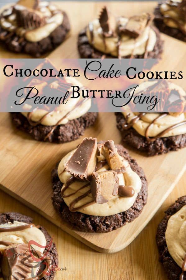 Peanut Butter Icing Chocolate Cake Cookies-pinnable