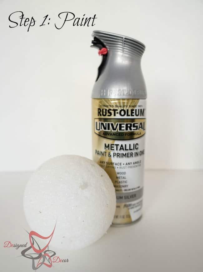 DIY-Glitter Styrofoam Ball Christmas Ornaments-Christmas Decorating on a budget - step 1