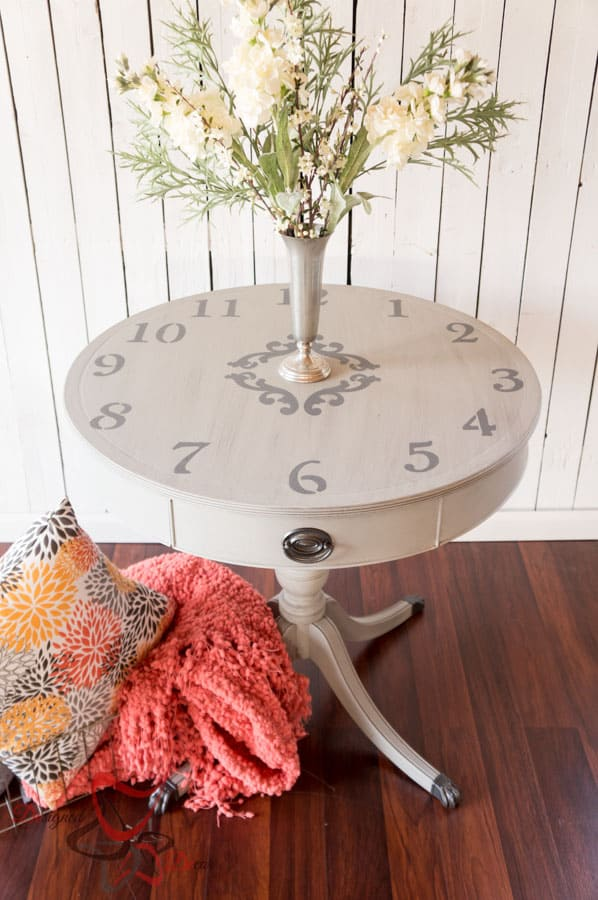 Clock Table- Mahogany Leather Top Drum Table (3 of 13)