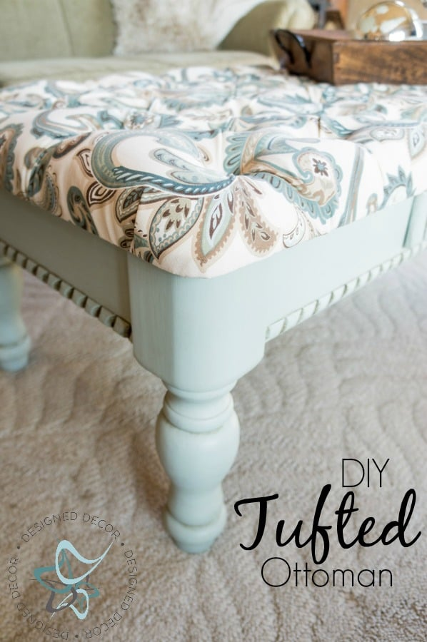 Learn to make a Diy-Tufted-Ottoman-repurposed-Coffee Table-chalk painted-