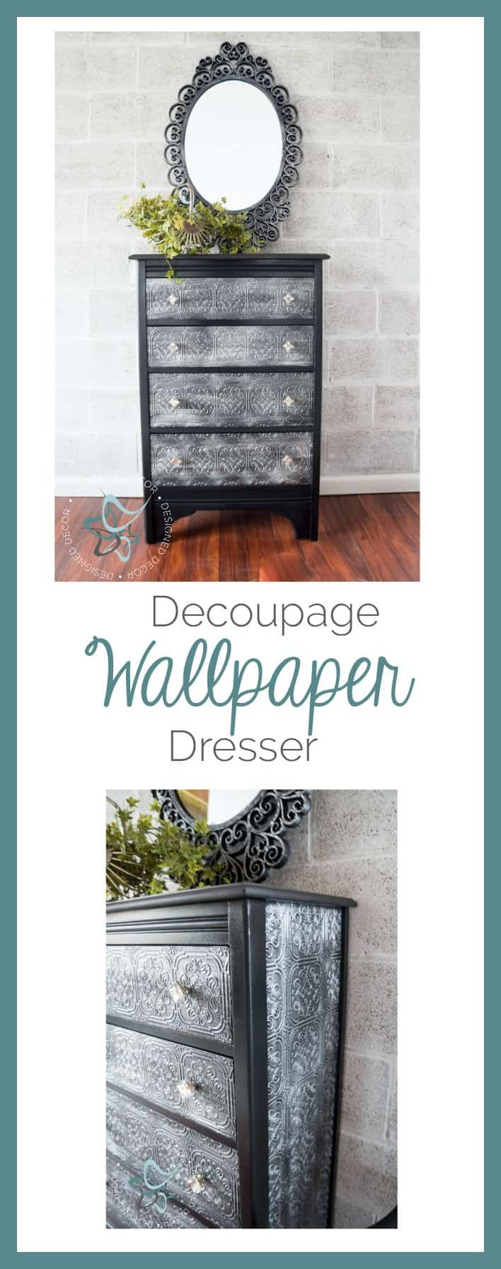 decoupage wallpaper dresser