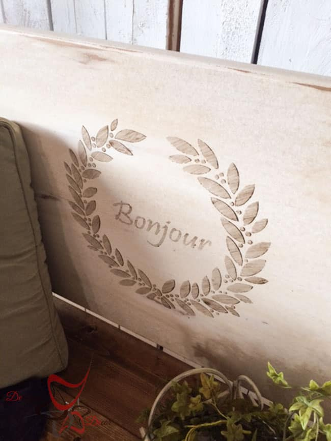 Repurposed Headboard Bench- French Bench- Furniture Stenciling (7 of 11)